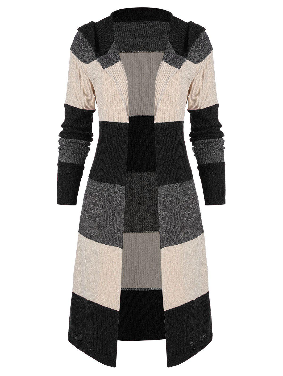 Outfits Hooded Colorblock Open Front Cardigan
