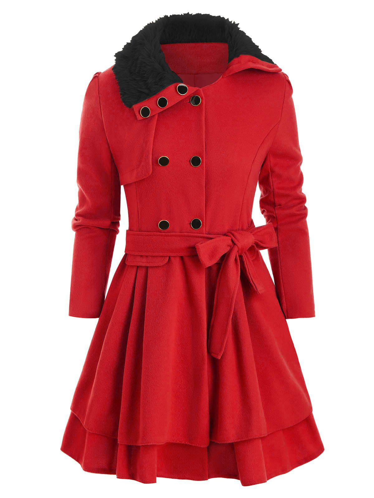 Unique Faux Fur Collar Double Breasted Belted Wool Blend Coat