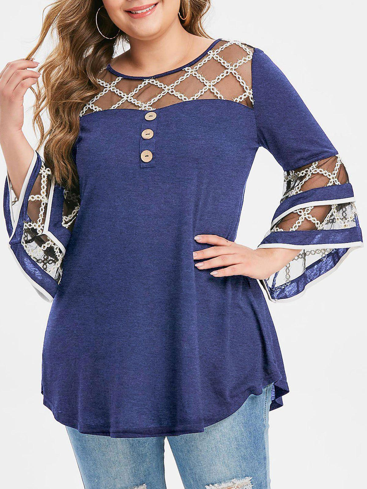 Online Plus Size Grid Mesh Insert Flare Sleeve Mock Button T-shirt