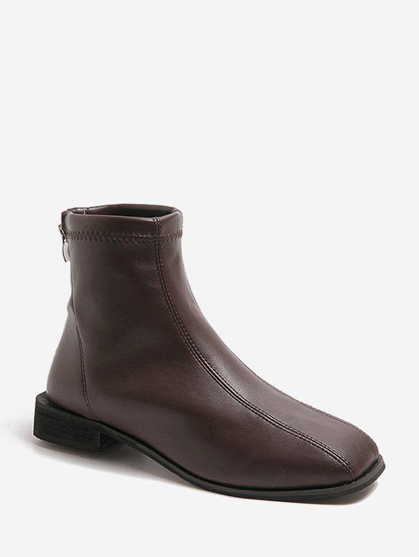 Outfits Sewing Detail Square Toe PU Leather Ankle Boots