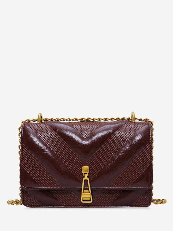 Discount Leather Square Chain Zipper Decorated Shoulder Bag