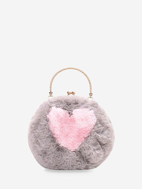 Discount Heart Pattern Furry Shoulder Bag