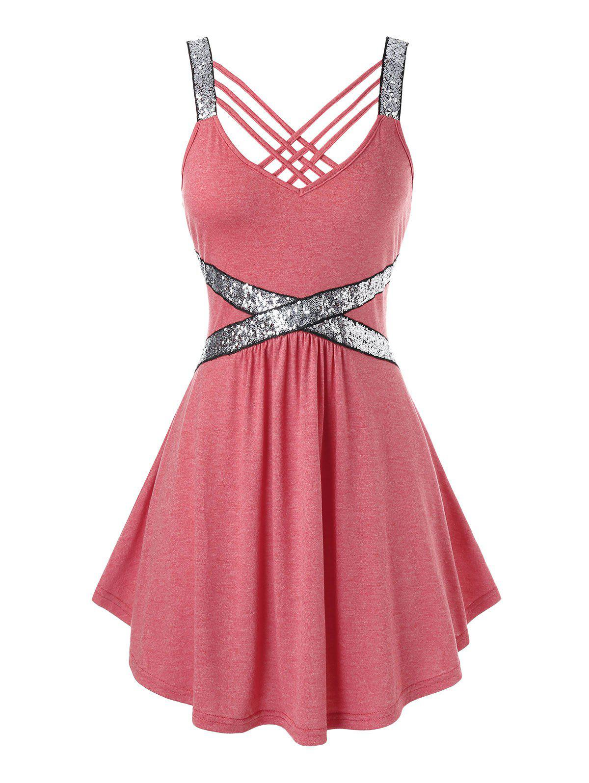 Fashion Plus Size Sequins Strappy Tank Top