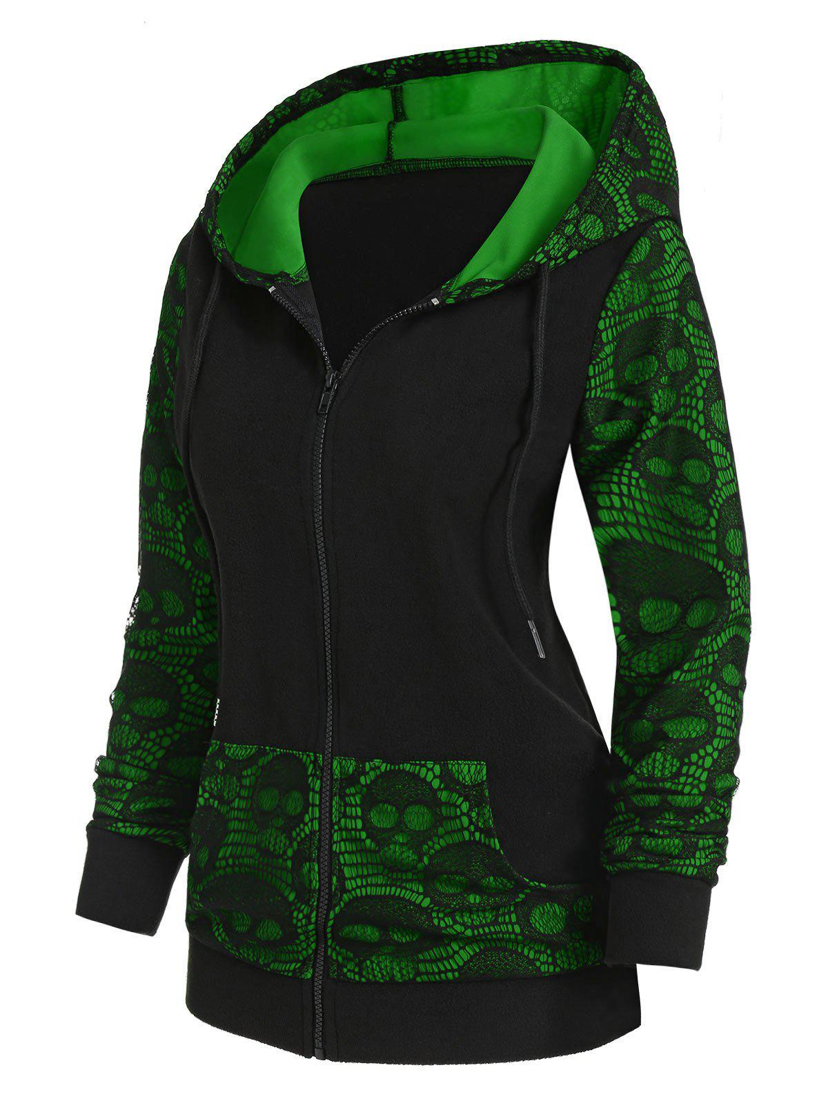 Hot Skull Graphic Lace Panel Zip Up Hoodie