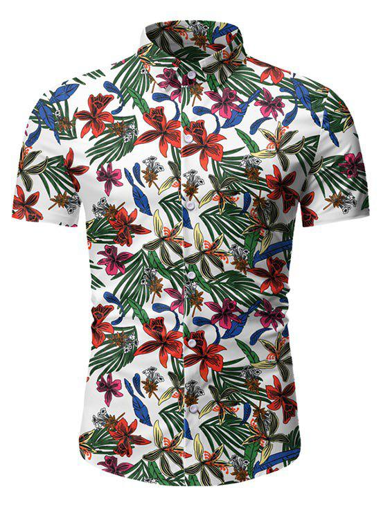 Latest Leaf Floral Pattern Short Sleeves Casual Shirt