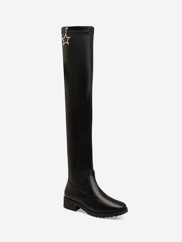 Trendy Rhinestone Star Leather Over The Knee Boots