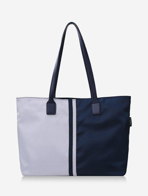 Fancy Two Tone Colorblock Nylon Tote Bags with Zipper