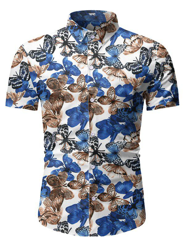 Trendy Butterfly Pattern Button Short Sleeves Shirt