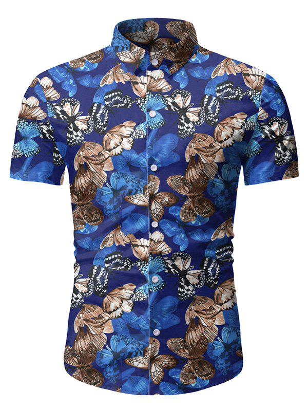 Chic Butterfly Pattern Button Short Sleeves Shirt