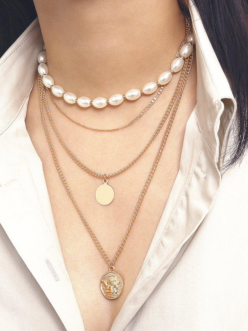 Sale Oval Faux Pearl Angel Multilayered Necklace