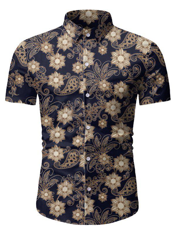 Discount Floral Paisley Pattern Short Sleeves Shirt