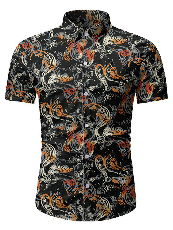 Store Novelty Print Button Short Sleeves Shirt