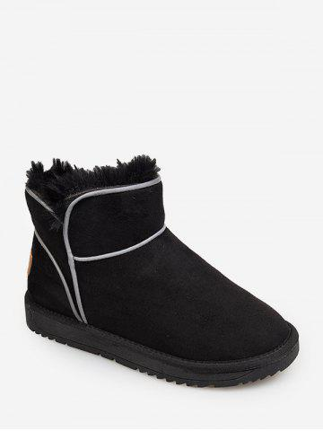 Contrast Piping Faux Fur Snow Boots - BLACK - EU 35