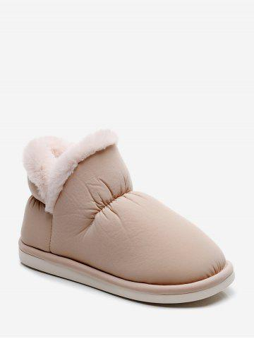 Stitching Detail Faux Fur Trim Snow Boots - CHAMPAGNE - EU 37