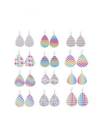 12 Pairs Rainbow Color Geometric Drop Earrings Set