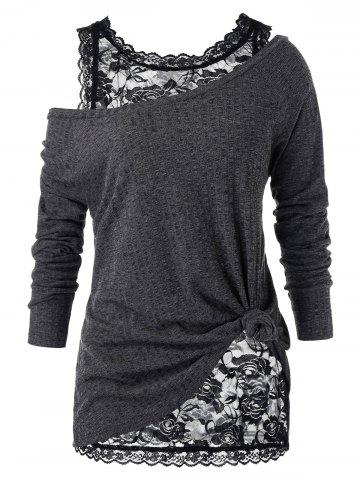 Plus Size Skew Neck Sweater and Floral Lace Top