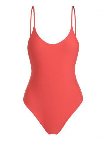 Fixed Strap Solid One-piece Swimsuit