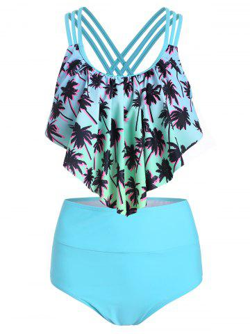 Palm Tree Print Strappy Tankini Swimsuit
