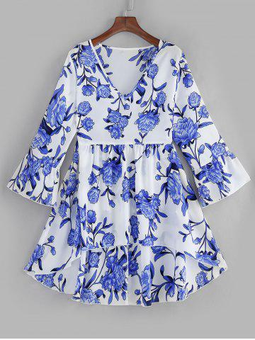 Plus Size Flare Sleeves High Low Floral Blouse