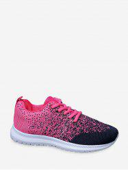 Lace Up Knitted Two Tone Sports Shoes -