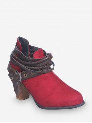 Strap Wrap Clog High Heel Ankle Boots -