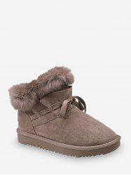 Bowknot Ruched Faux Fur Suede Snow Boots -