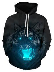 Tiger Print Pouch Pocket Hoodie -