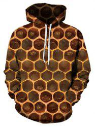 Honeycomb Pattern Pouch Pocket Hoodie -