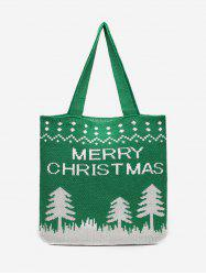 Merry Christmas Printed Knitted Shoulder Bag -