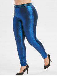 Plus Size Striped Baudrier Leggings métallique - Bleu 4X