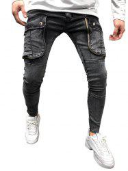 Solid Color Ripped Pocket Zipper Jeans -