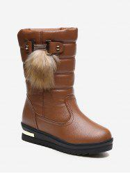Fur Decor Quilted Leather Fleece Mid Calf Boots -