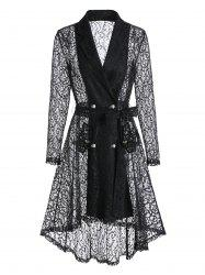 Double Breasted High Low Sheer Lace Coat -