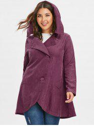 Plus Size Button Hooded Coat -