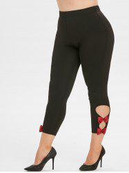 Plus Size Cutout Bowknot Skinny Pants -