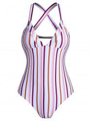 Colorful Striped Back Crisscross Ladder Cutout One-piece Swimsuit -