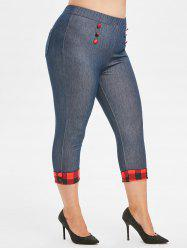 Buttoned Cuffed Hem Chambray Plaid Plus Size Capri Pants -