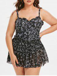Plus Size Graphic Underwire One-piece Swimsuit With Skirt -