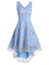 V Neck Floral Lace High Low Dress -