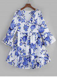 Plus Size Flare Sleeves High Low Floral Blouse -