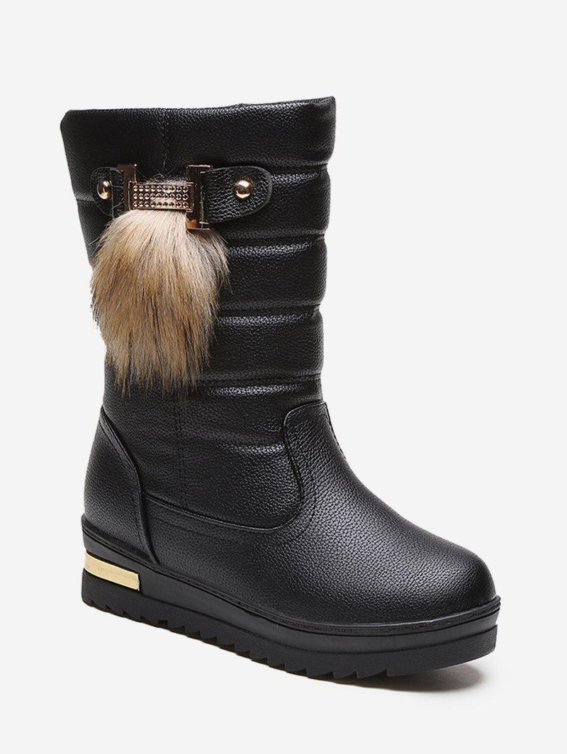 Chic Fur Decor Quilted Leather Fleece Mid Calf Boots