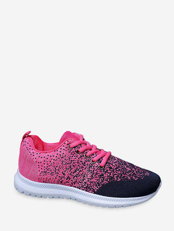 Chic Lace Up Knitted Two Tone Sports Shoes