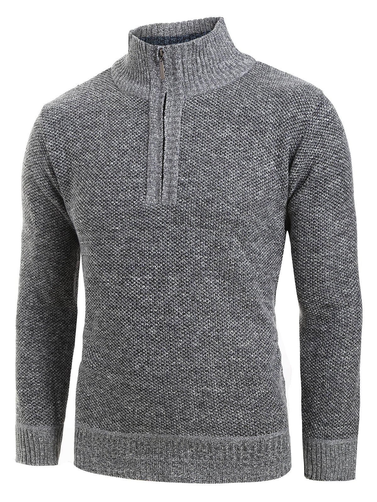 Quarter Solid Color Zip Pull Gris Foncé L