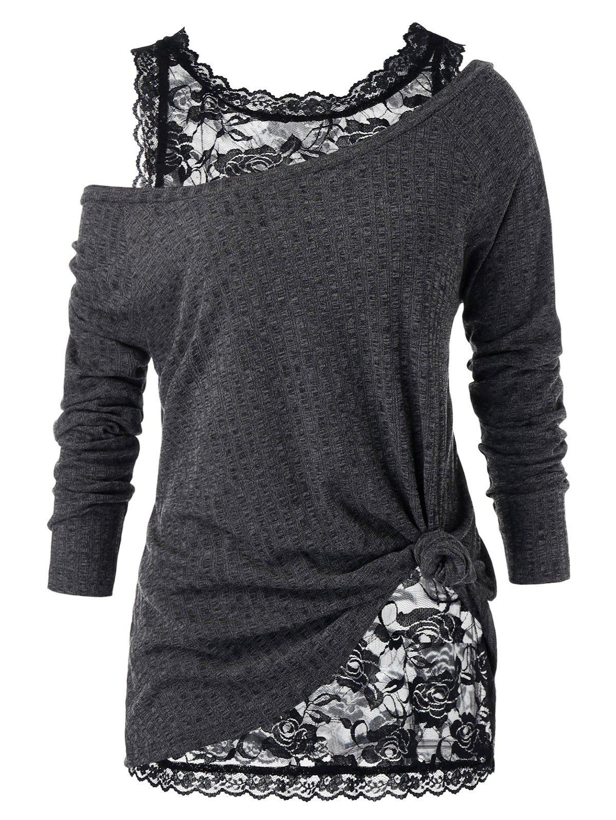 Outfits Plus Size Skew Neck Sweater and Floral Lace Top