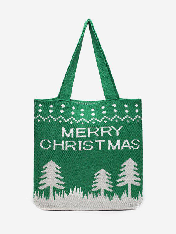 Latest Merry Christmas Printed Knitted Shoulder Bag