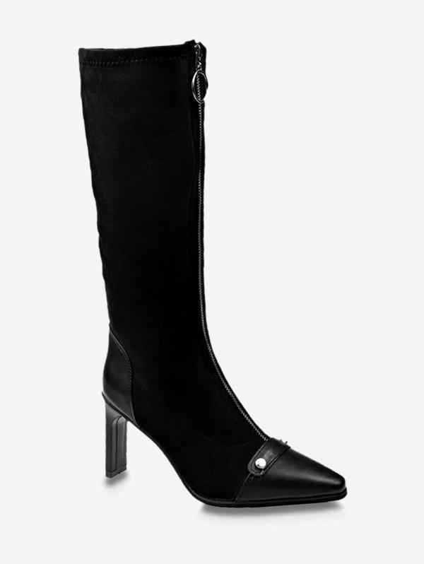 Hot O-ring Zip High Heel Pointed Toe Boots