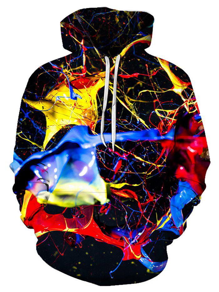 Cheap Colorful Print Pouch Pocket Hoodie
