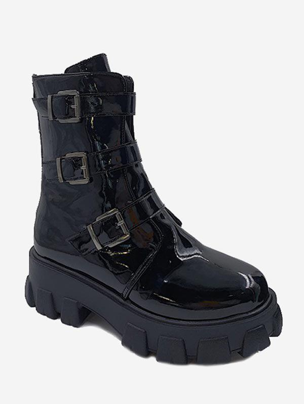 Fashion Patent Leather Multi-buckle Platform Ankle Boots