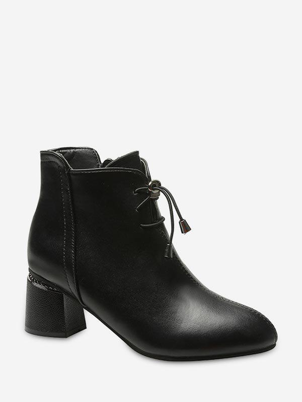 Chic Toggle Drawstring Chunky Heel Leather Ankle Boots