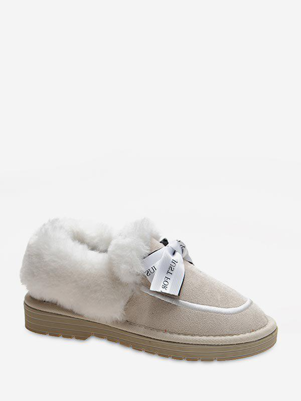 Online Sweet Bowknot Fuzzy Collar Snow Boots